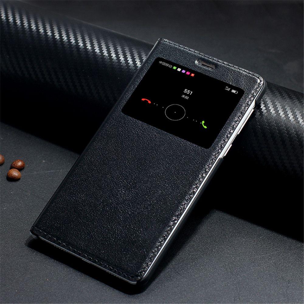 Étui pour huawei honour 6x en cuir véritable avec fenêtre couverture arrière sacs de téléphone design de marque de luxe