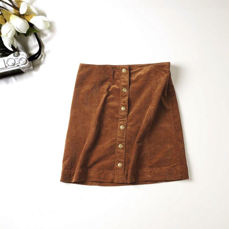 2019 automne nouveauté femmes mode décontracté unique boutonnage velours côtelé jupes, femme qualité Vintage taille haute Slim Mini jupes