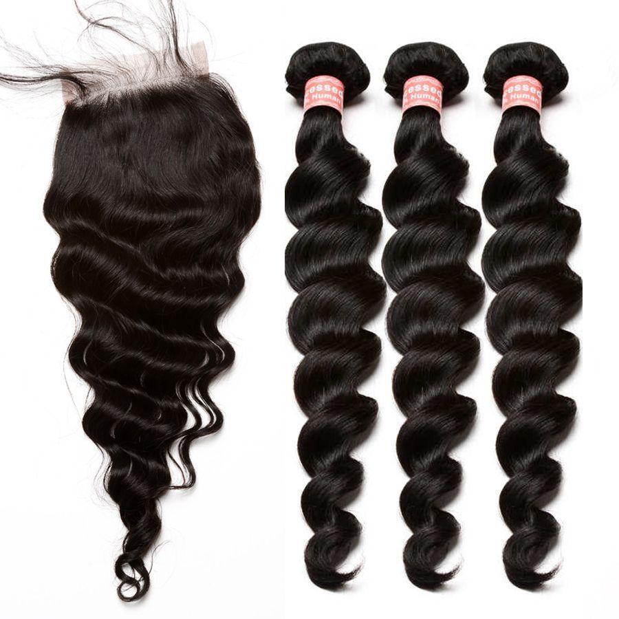 Brésilienne Vierge Cheveux Weave 3 Bundles Avec Fermeture Vague Lâche Faisceaux de Cheveux humains Avec Fermeture Blanchis Noeuds Bébé Cheveux Vous peut