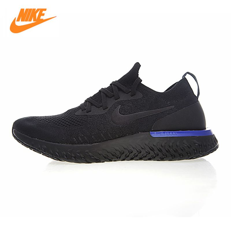 Nike Epic React Flyknit Men's and Women's Running Shoes, Black, Lightweight Non-slip Wear Resistant Breathable AQ0067 004