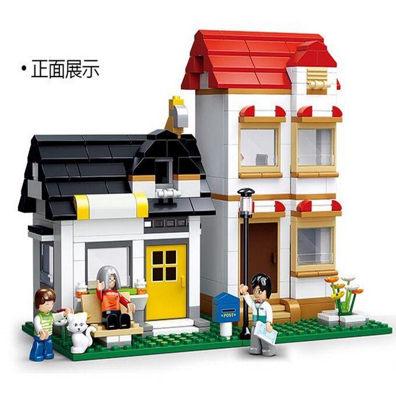 SLUBAN 0573 City Large Scene Apartment Villas Figure Blocks Educational Construction Bricks Toys For Children Compatible Legoe