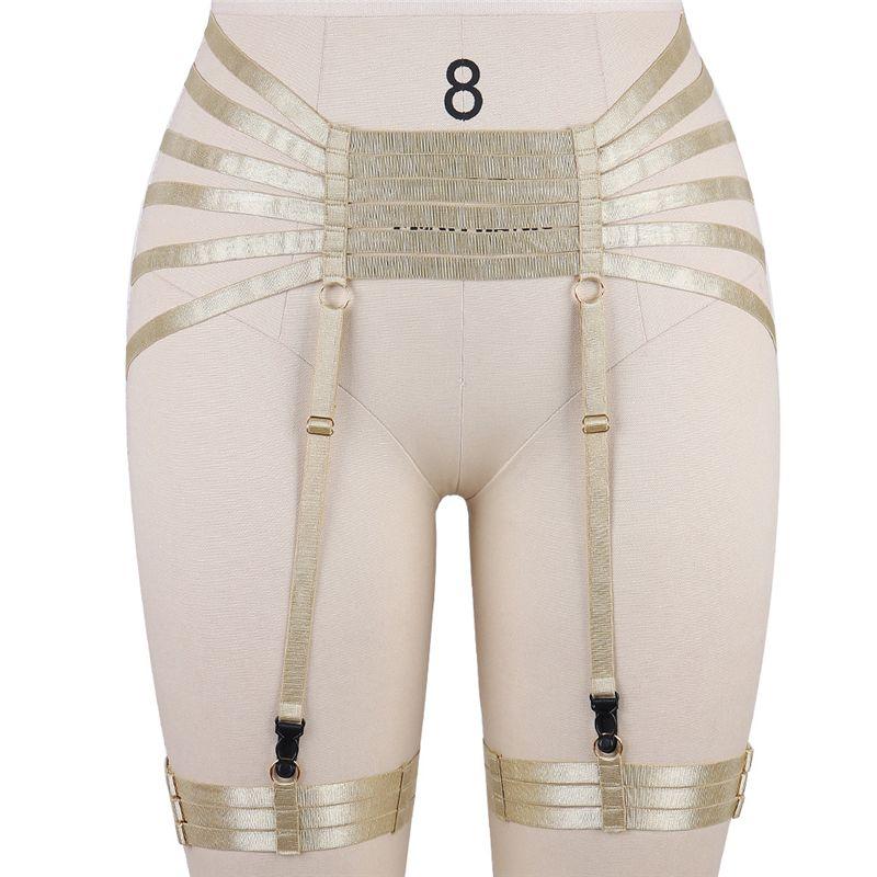 BODY CAGE Womens Sexy Garter belt high wais Bondage Harness Lingerie Black Elastic Strappy Suspender garter Burningman Rave Wear