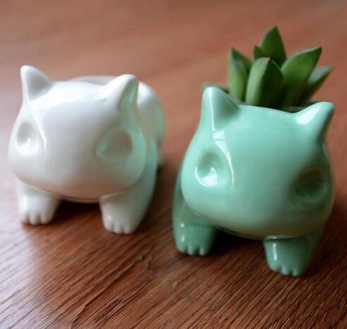 Dropshipping Kawaii Pokemon En Céramique Pot de Fleurs Bulbizarre Planteur Mignon Blanc Vert Plantes Succulentes Pot De Fleur Trou Mignon Mini Pot