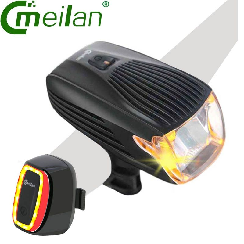 Meilan X1 Bike Light USB Rechargeable <font><b>Tail</b></font> Lamp Bicycle Bike Led Front Light 16 LED Smart Led lamp ROHS CE Germany Stvzo