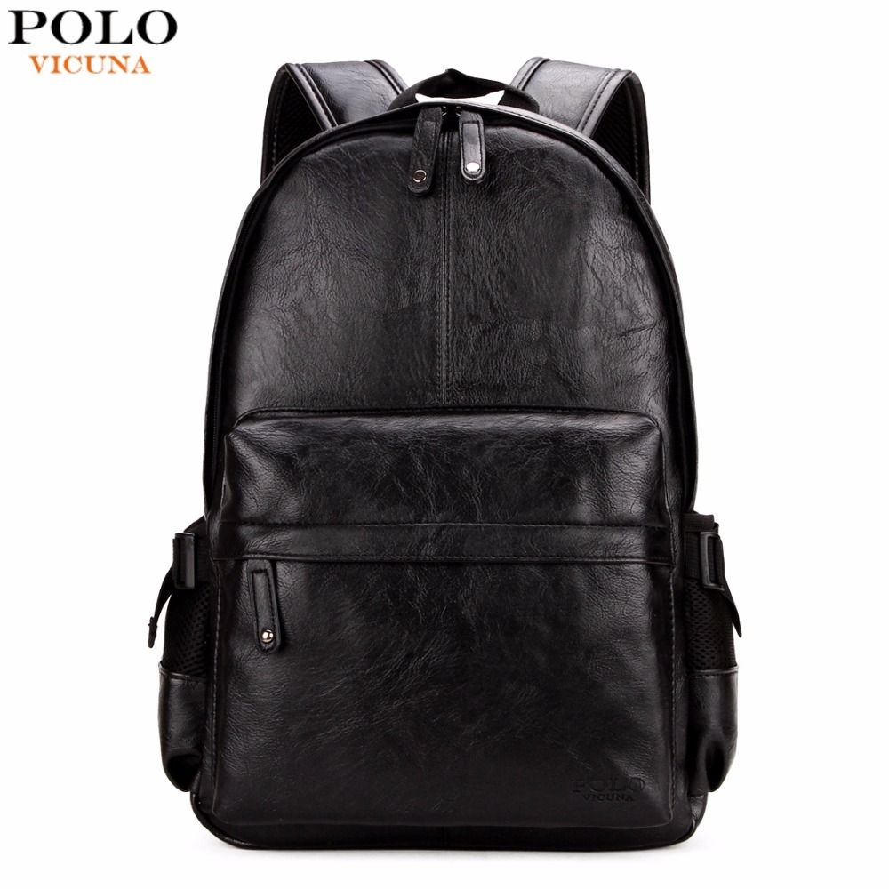 VICUNA POLO Famous Brand Preppy Style Leather School Backpack Bag For College Simple Design Men Casual Daypacks mochila male New
