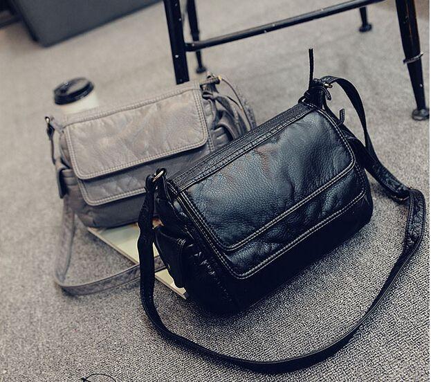 Moda pequeño bolso de cuero suave mensajero ocasional hombro pequeño bolso femenino negro/gris j-895