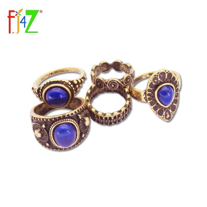 Vintage Ring Fashion Designer Antike Legierung Natur Blau Stein 5 stücke Midi finger Ringe für Frauen conjuntos de anillo