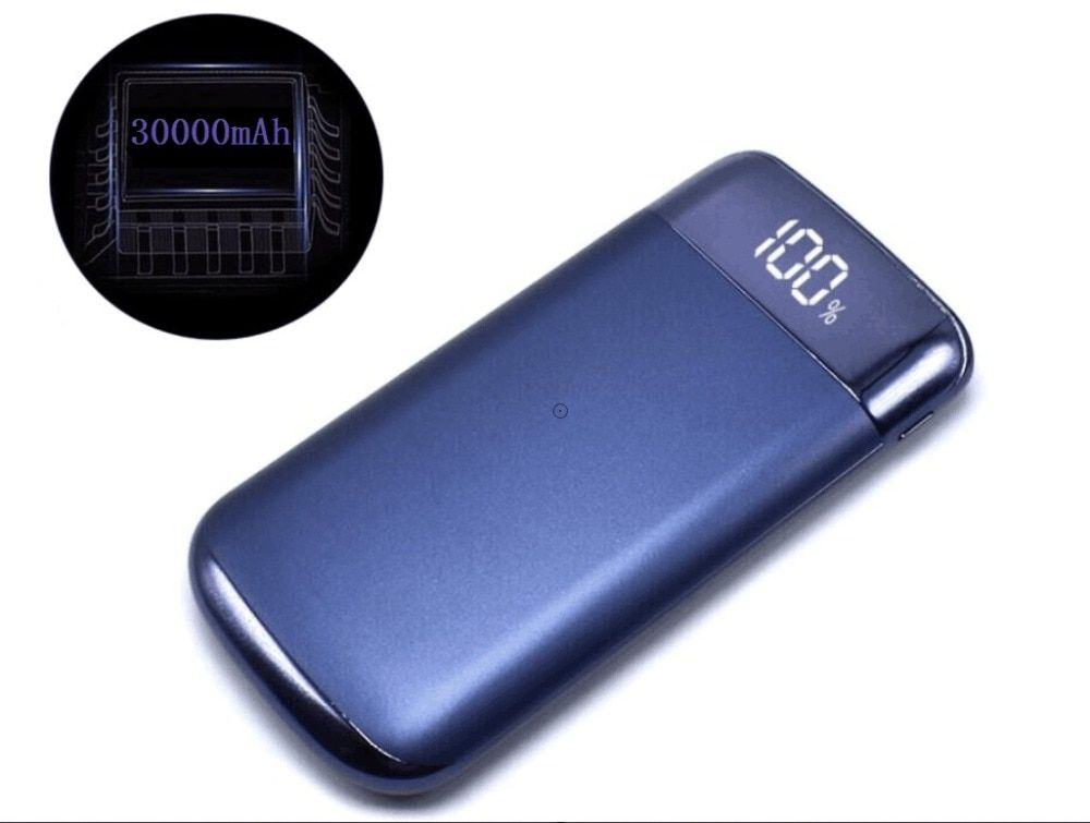 Hot Power Bank External Battery 30000mah Power Bank 2 USB LCD Powerbank Portable Mobile Phone Charger For Xiaomi Mi 18650