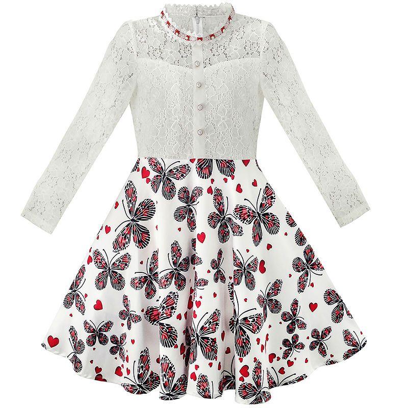 Flower Girl Dress Lace Pearl Plum Blossom Elegant Princess Dress 2018 Summer Wedding Party Dresses Girl Clothes Size 7-14