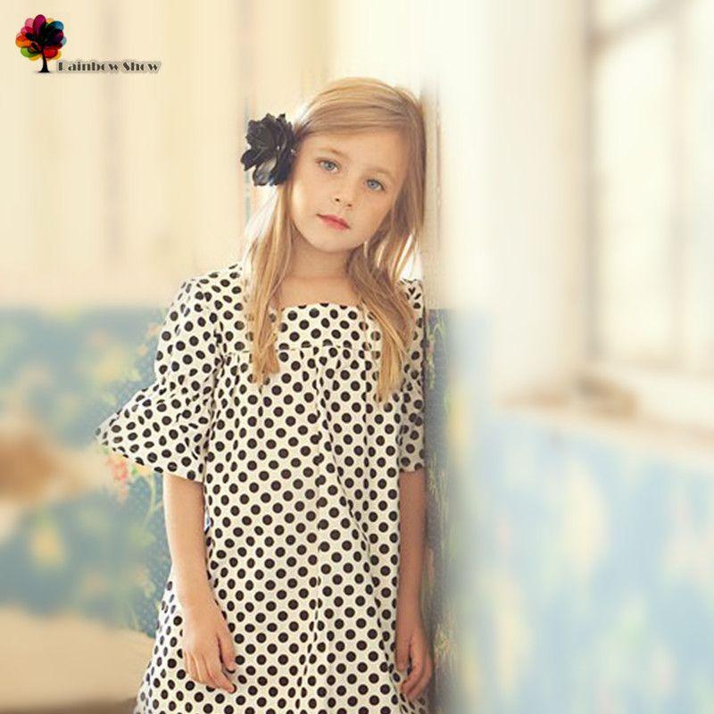 GGOGGIRI flambant neuf Qualité vêtement pour enfants Filles Printemps Été Europe et Amérique Points Élégant Coton Robe robe d'enfants