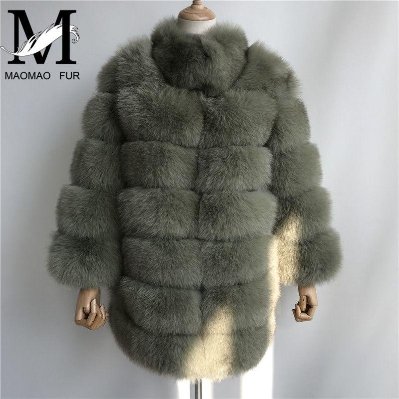 New Real Fox Fur Coats Women Genuine Fox Fur Thick Female Long Jacket Fashion Winter Ladies Real Fur Overcoat Luxury