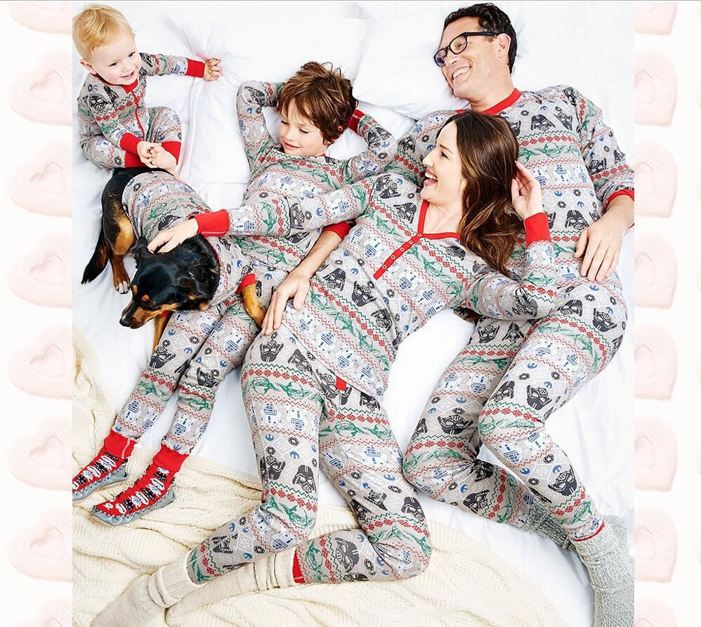 Star War Family Set Christmas Pajamas Family Clothing Mom Daughter Father Son Toddler Sleepwear Clothes Family Clothing Sets YJ1