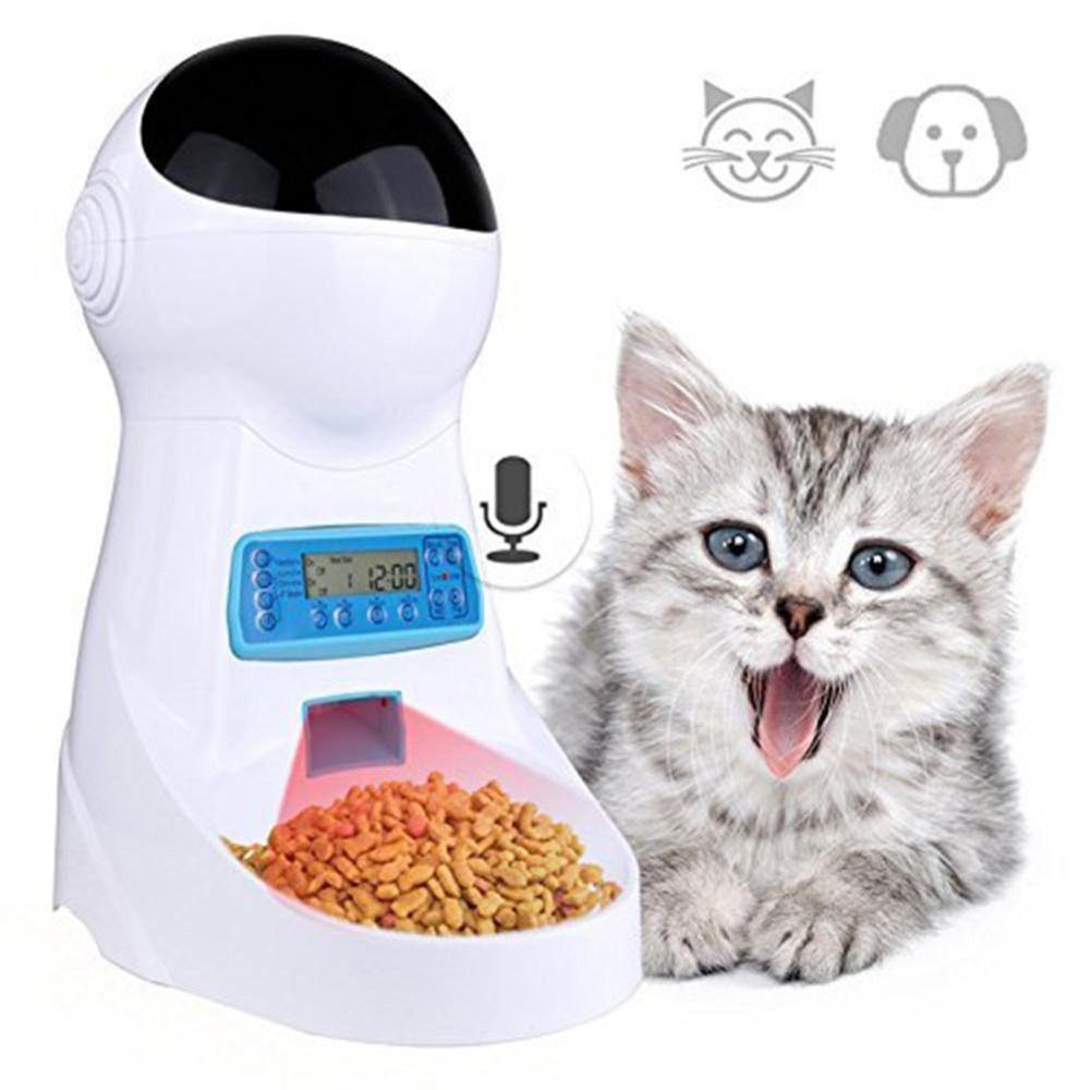 Nicrew Pet-U 3L Automatische Tiernahrung Feeder Mit Stimme Aufnahme/LCD Bildschirm Schüssel Für Medium Kleine Hund katze Spender 4 mal