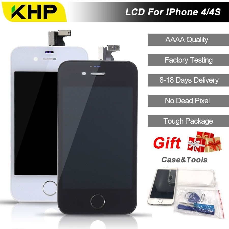 2018 100% Original KHP AAAA Screen LCD For iPhone 4S 4 Screen LCD Replacement Screen IPS Display Touch Quality 4S 4 LCDS