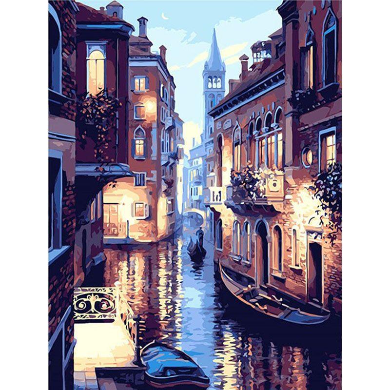 Peinture par numéros bricolage livraison directe 50x65 60x75cm eau ville venise bateau paysage toile mariage décoration Art image cadeau