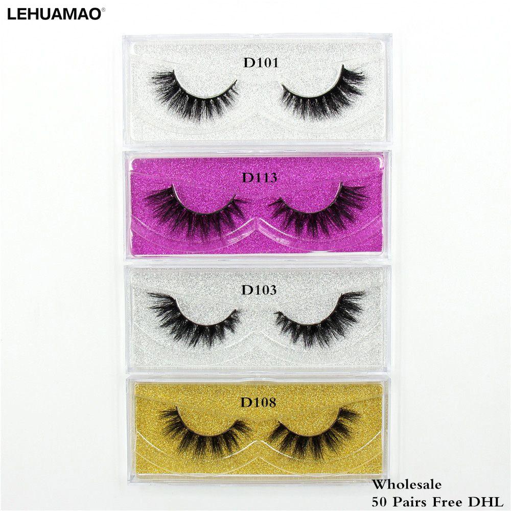 LEHUAMAO 50 pairs Mink Eyelashes 3D makeup false Eyelashes Luxury Handmade Dramatic Mink Lashes cruelty free Eyelashes Free DHL
