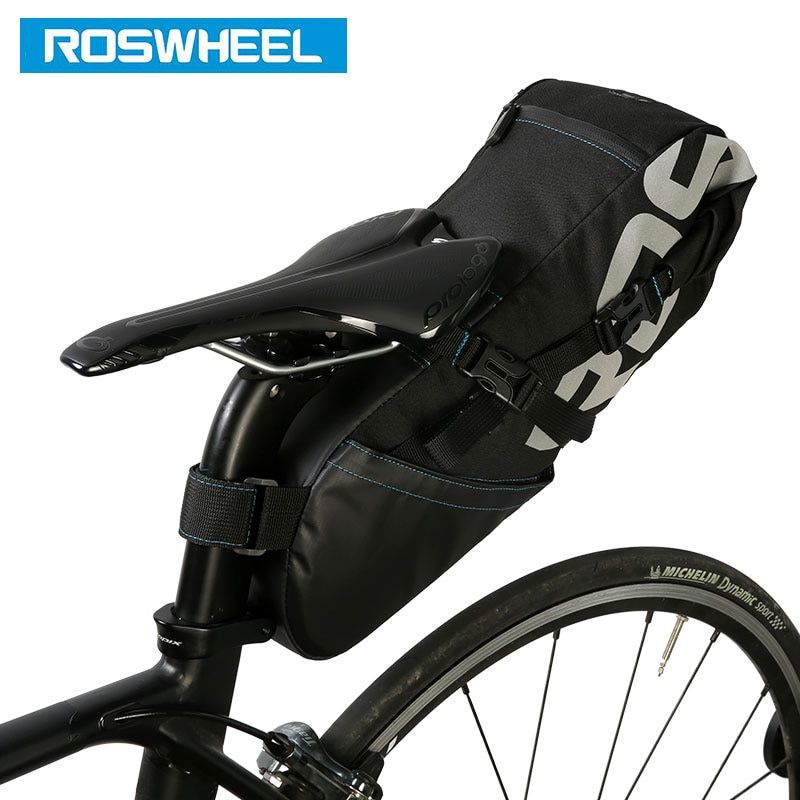 ROSWHEEL Bicycle Tail Bag Wrap-up Closure Volume Extendable 8L10L Seat Post Storage Pack MTB Road Bike Pannier Pouch 131414