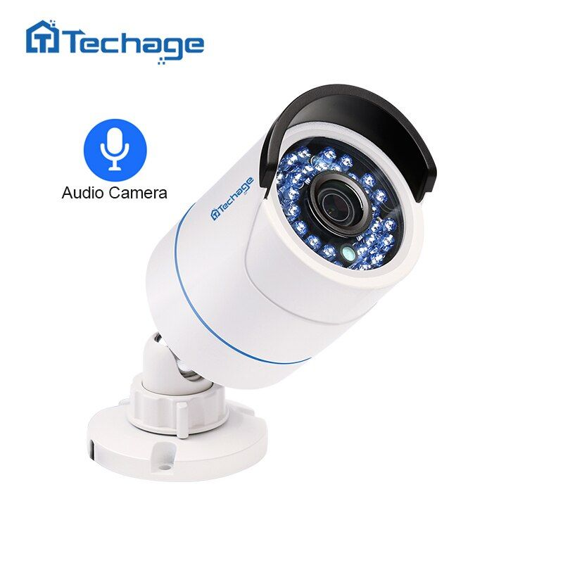 Techage HD 1080P 2.0MP Security CCTV POE IP Camera Audio Sound Record Indoor Outdoor P2P Onvif Surveillance Bullet IP Camera