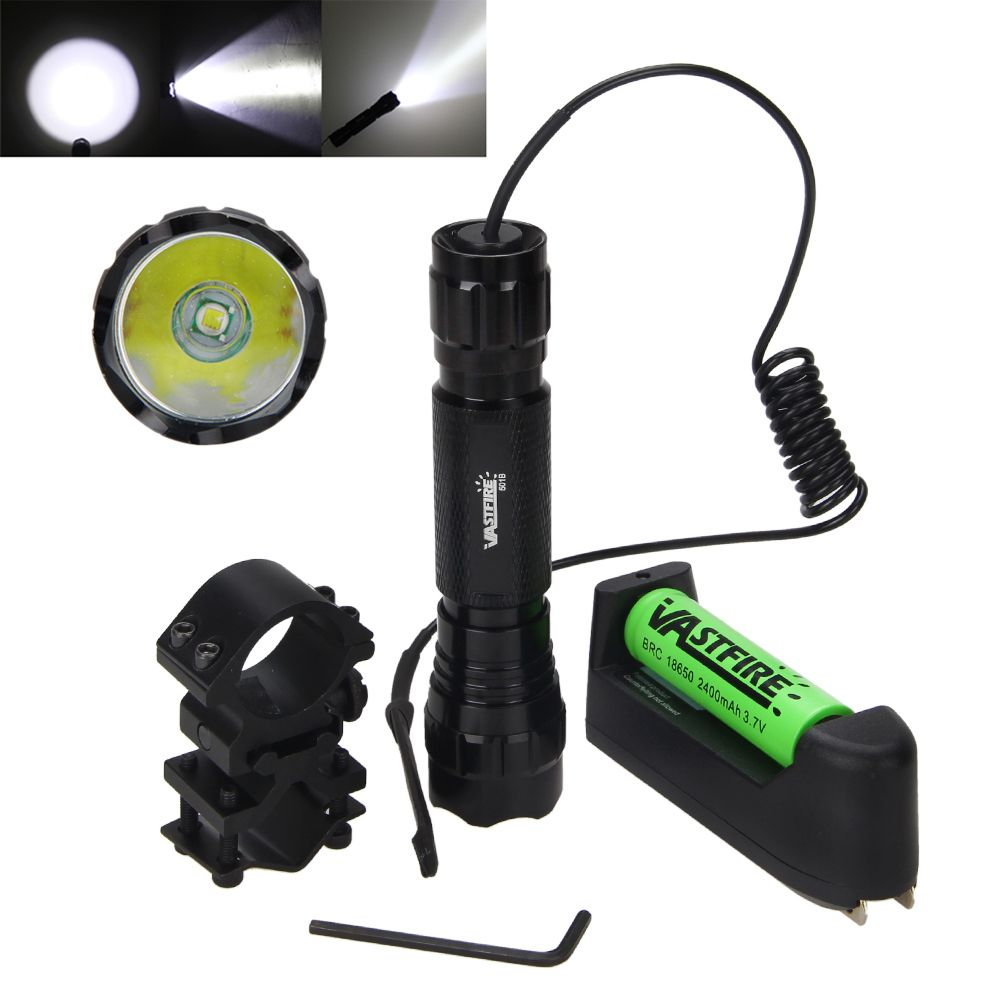 Tactical 5000Lm XML T6 LED Military Flashlight Hunting Torch 18650+Remote Switch+Charger