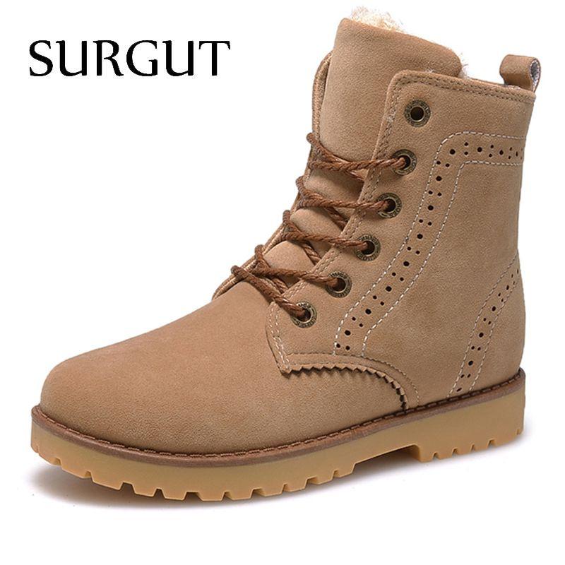 SURGUT Marca 2017 Zapatos de Invierno de Moda Para Los Hombres del Ante de la pu nieve Botas de Los Hombres Cómodos Zapatos Casuales de Los Hombres de Alta Calidad Tamaño 35-44