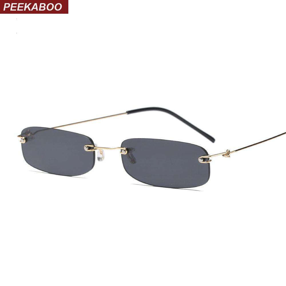 Peekaboo étroit lunettes de soleil hommes sans monture été 2018 rouge bleu noir rectangulaire lunettes de soleil pour les femmes petit visage vente chaude