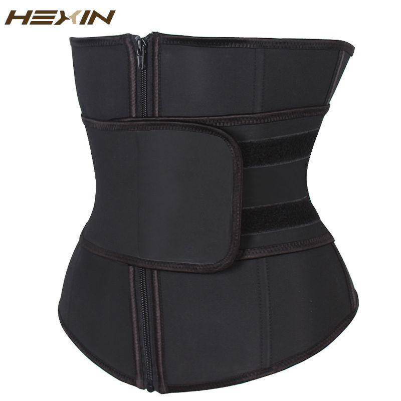 HEXIN Abdominal Belt High Compression Zipper <font><b>Plus</b></font> Size Latex Waist Cincher Corset Underbust Body Fajas Sweat Waist Trainer