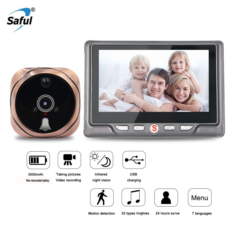 Saful Digital Peephole Video Camera Wireless Door Bell Video-eye with TF Card Taking Photo Door Peephole Viewer Monitor for Home