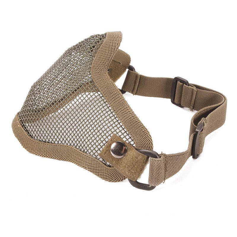 Nylon metaloutdoor huelga de malla metálica máscara protectora media Cara Tactical airsoft Militar Cara máscara negro barro blanco