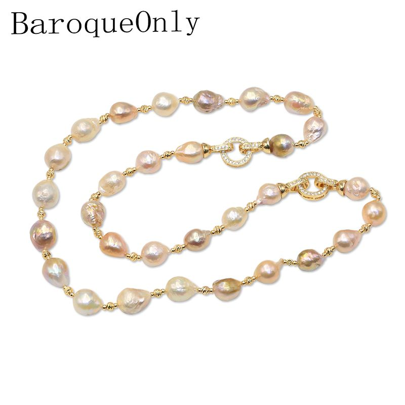 BaroqueOnly Mixed-colour Baroque Natural Freshwater Pearl Necklace choker Bracelet THREE WAYS CAN WEAR sweater chain