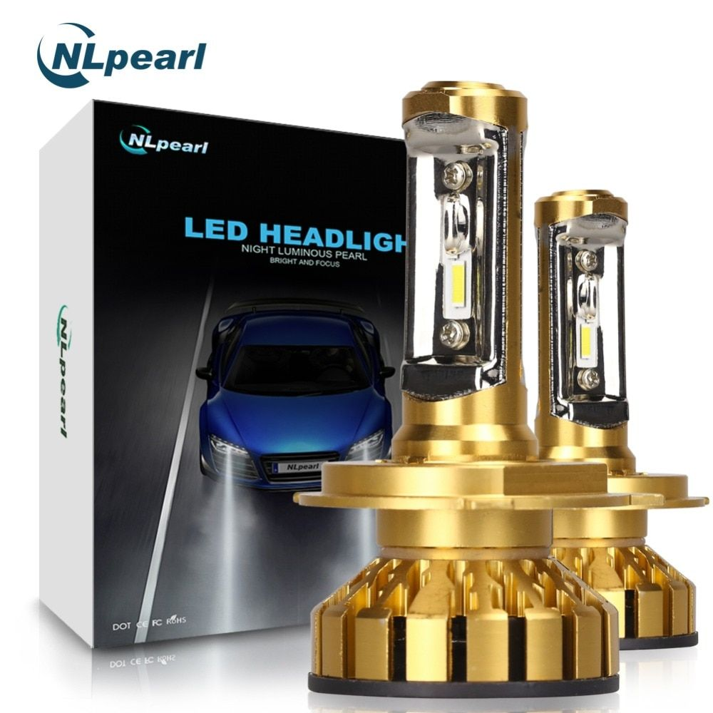 NLpearl 2Pcs 10000LM/Pair ZES Car Headlight with Philips Chips Super Led H4 H7 H1 H11 H3 9012 9005 9006 H4 Led Bulb 50W 6000K