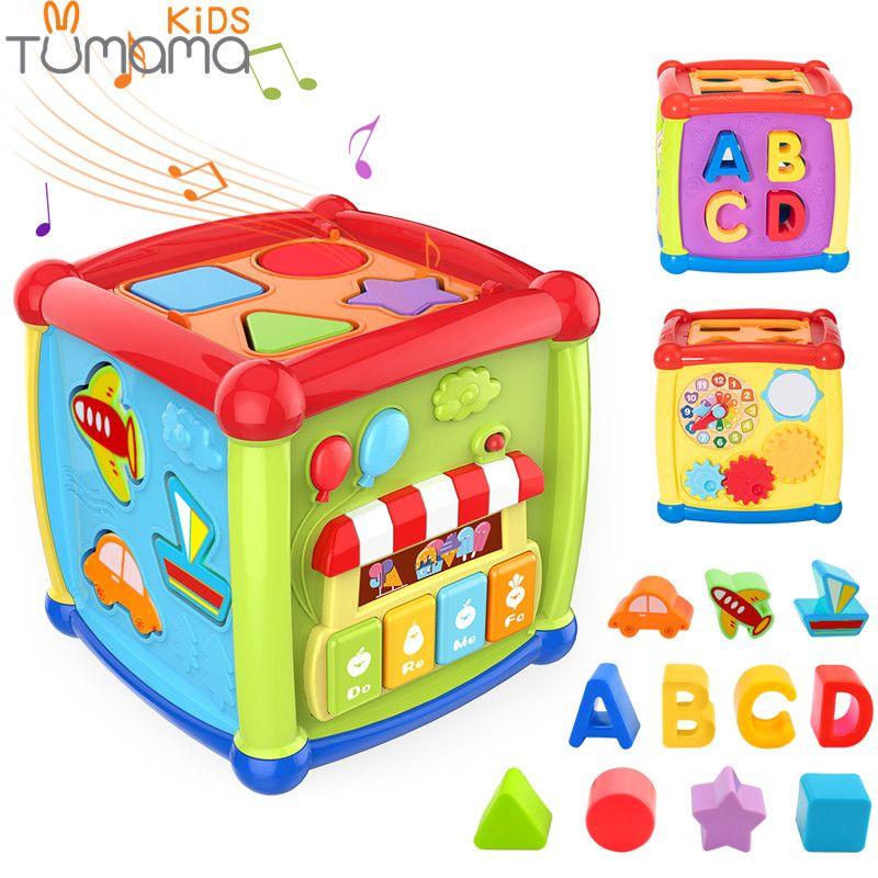 Tumama Multifunctional Musical Toys Toddler Baby Box Music Activity Cube Gear Clock Geometric Blocks Sorting Educational Toys