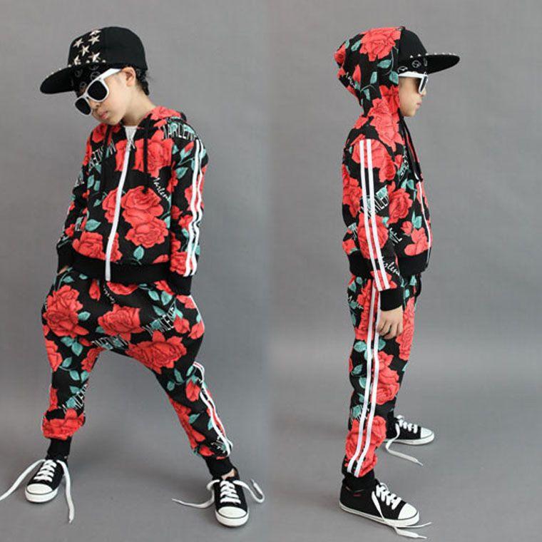 Mode printemps automne enfants ensemble unisexe caractère actif à capuche zipper sweat Hip Hop harem pantalon enfants Floral sport costumes