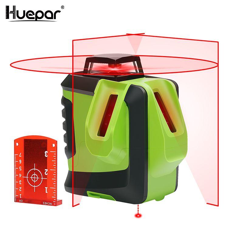 Huepar Red Beam Cross Laser Level-360-Degree Horizontal Two Vertical Lines Plus Plumb Point Self-Leveling Alignment Multi Line