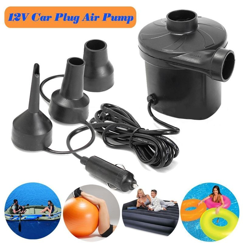 DC 12V Portable Electric Air Pump Air Bed Mattress Boat Car Auto Air <font><b>Inflatable</b></font> Pump For Camping Inflator with 3 Nozzles Mayitr