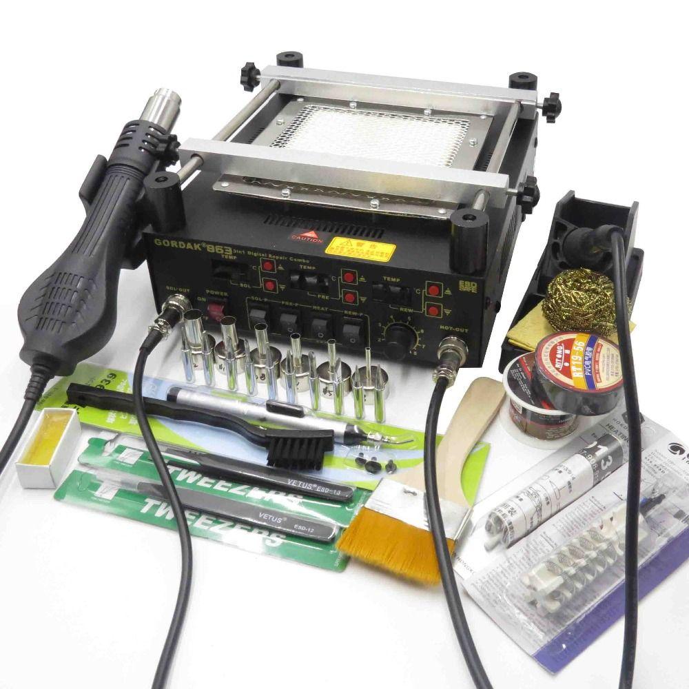Gordak 863 Hot Air Heat Gun BGA Rework Solder Station + Electric Soldering iron + IR Infrared Preheating Station With Free Gifts