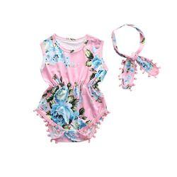 2Pcs/Set Newborn Infant Baby Girl Floral Romper Sleeveless Tassel Jumpsuit +Headband Sunsuit Outfits Clothes