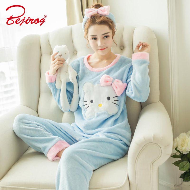 Bejirog 2 pièces femmes pyjamas ensembles chat imprime sommeil vêtements épais Flanelle animaux de nuit en hiver pour fille femme chemise de nuit