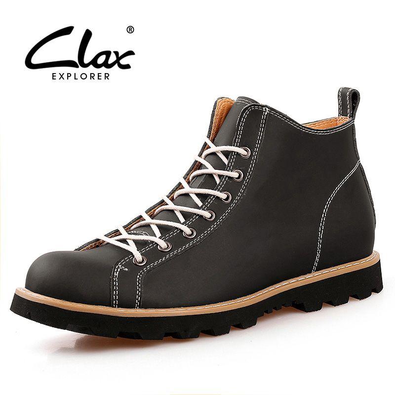 Clax hombre Botines Primavera Otoño Martin Botas Los Hombres Zapatos De Cuero Ocasionales Del Estilo Británico Zapatos de Moda Top Chukker de arranque