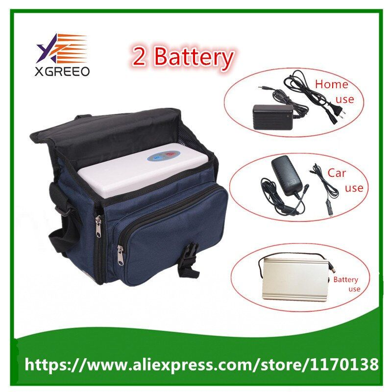 XGREEO 2 Batteries Health Care Car Use Portable Mini Oxygen Concentrator Generator with Battery and Carry Bag Home Air Purifier