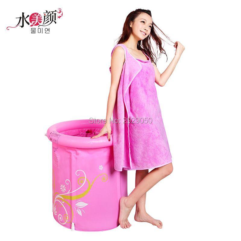 Water Beauty Pink Print Bath Belt Folding Bath Baskets Bath Baskets Plastic Thicker Inflators Baths Adult Bathtubs