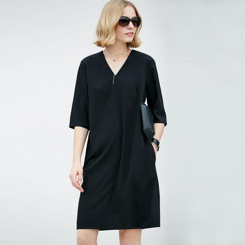 Amii Casual Women Dress 2018 Summer Simple Straight V-neck Half Sleeve Knee Length Dresses