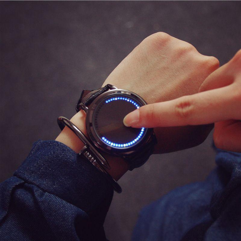 Minimaliste smart LED montre, en cuir imperméable à l'eau normale, Creative personnalité Arbre femmes montre électronique occasionnels montres