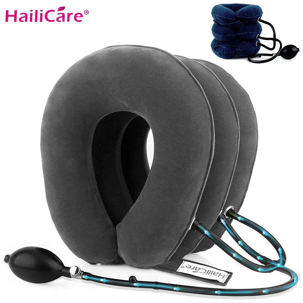 Oreiller mou de collier de cou de dispositif de Traction cervicale d'air gonflable de 3 couches pour la civière de cou de soulagement de Stress de douleur nous Stock