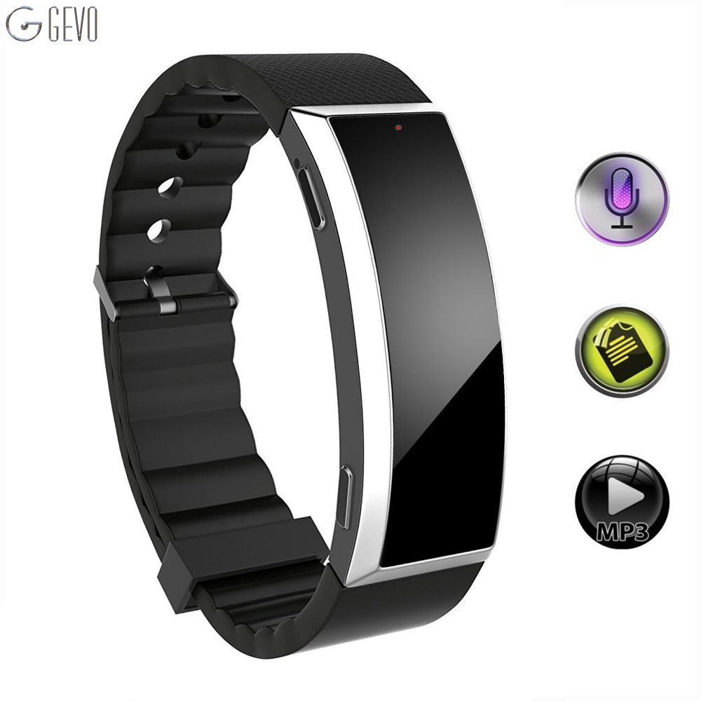 GEVO 8G Digital <font><b>Voice</b></font> Recorder Wristband MP3 Music Player <font><b>Voice</b></font> Activated Recorder Wearable Technology For Class Sports Lectures