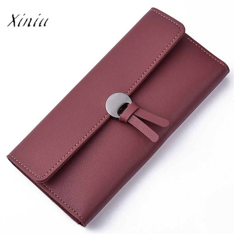 Fashion Women Wallet Carteira New Design Casual Solid Color Fashion Artificial Leather Leisure Clutch Handbag Long Purse
