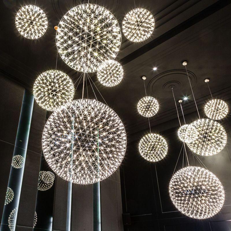 Modern brief Loft spark ball LED Pendant Light fixture Firework stainless steel Lamps home deco lighting 110-240V