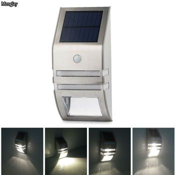 1x Waterproof 2 LED Led Solar Wall Light PIR Motion Sensor Garden Lights Wall Motion PIR Lamp  Stainless Steel Solar Wall Lamp
