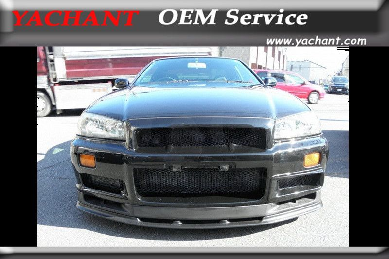 Car-Styling FRP Fiber Glass Body Kit Front Lip Fit For 1999-2002 Skyline R34 GTR OEM Standard Front Bumper Bottom Lip