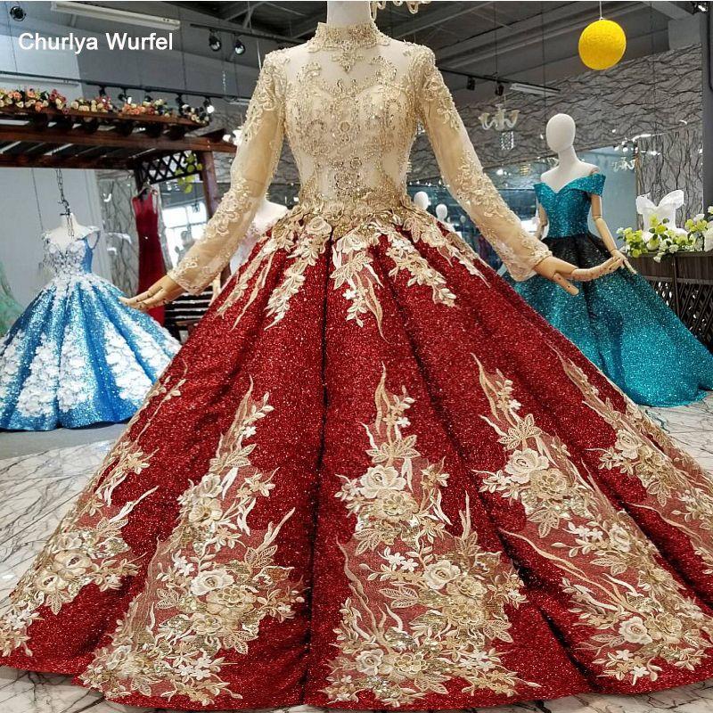 LS41108 glänzenden burgund abendkleid 2018 langarm high neck goldene blumen wein rot ballkleid muslimischen frauen anlass kleider