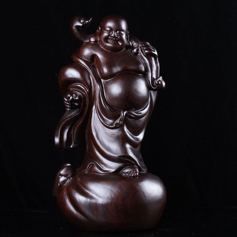 China Ebony Wood Carving Stand Happy Laugh Maitreya Buddha Hold Ruyi Statue